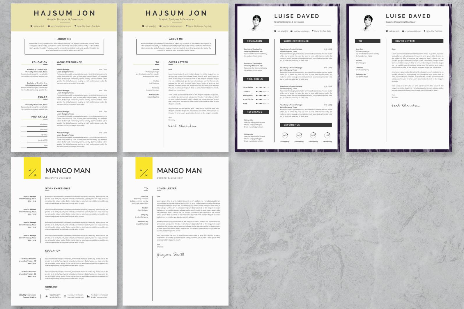 40+ Word Resume/Cv Template Big Bundle - 1411 -