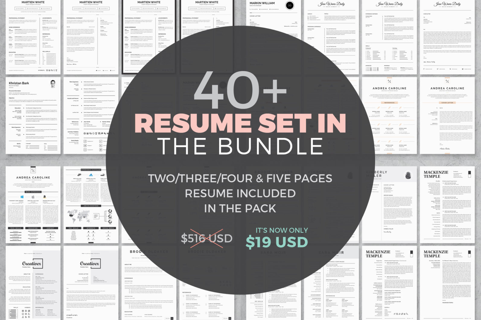 40+ Word Resume/Cv Template Big Bundle - 1510 -