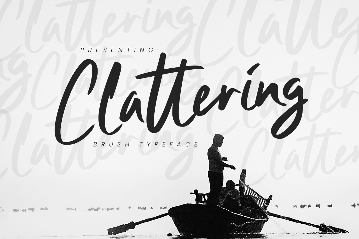 free font - Clattering Brush Typeface