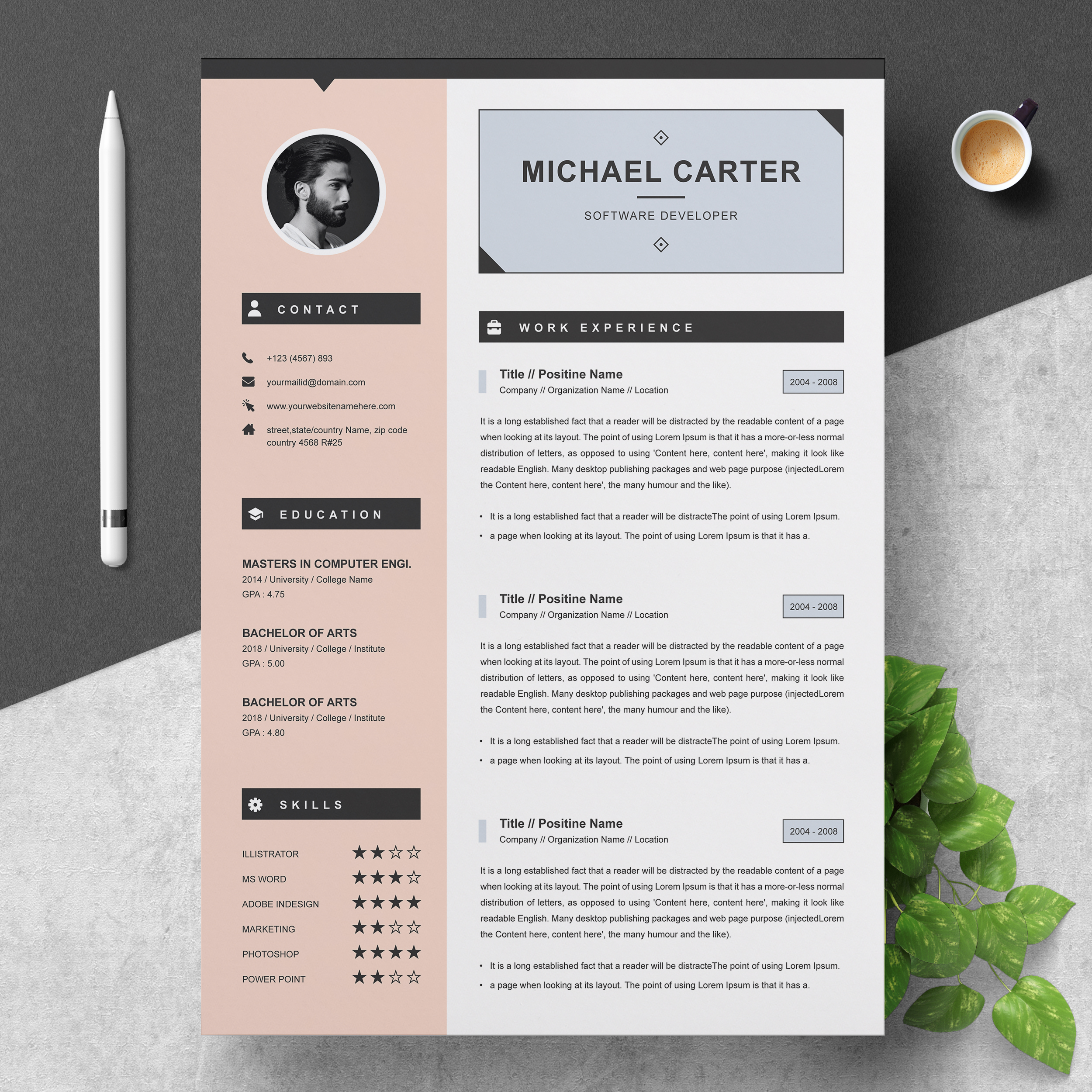 Modern Resume Cv Template 3 Pages