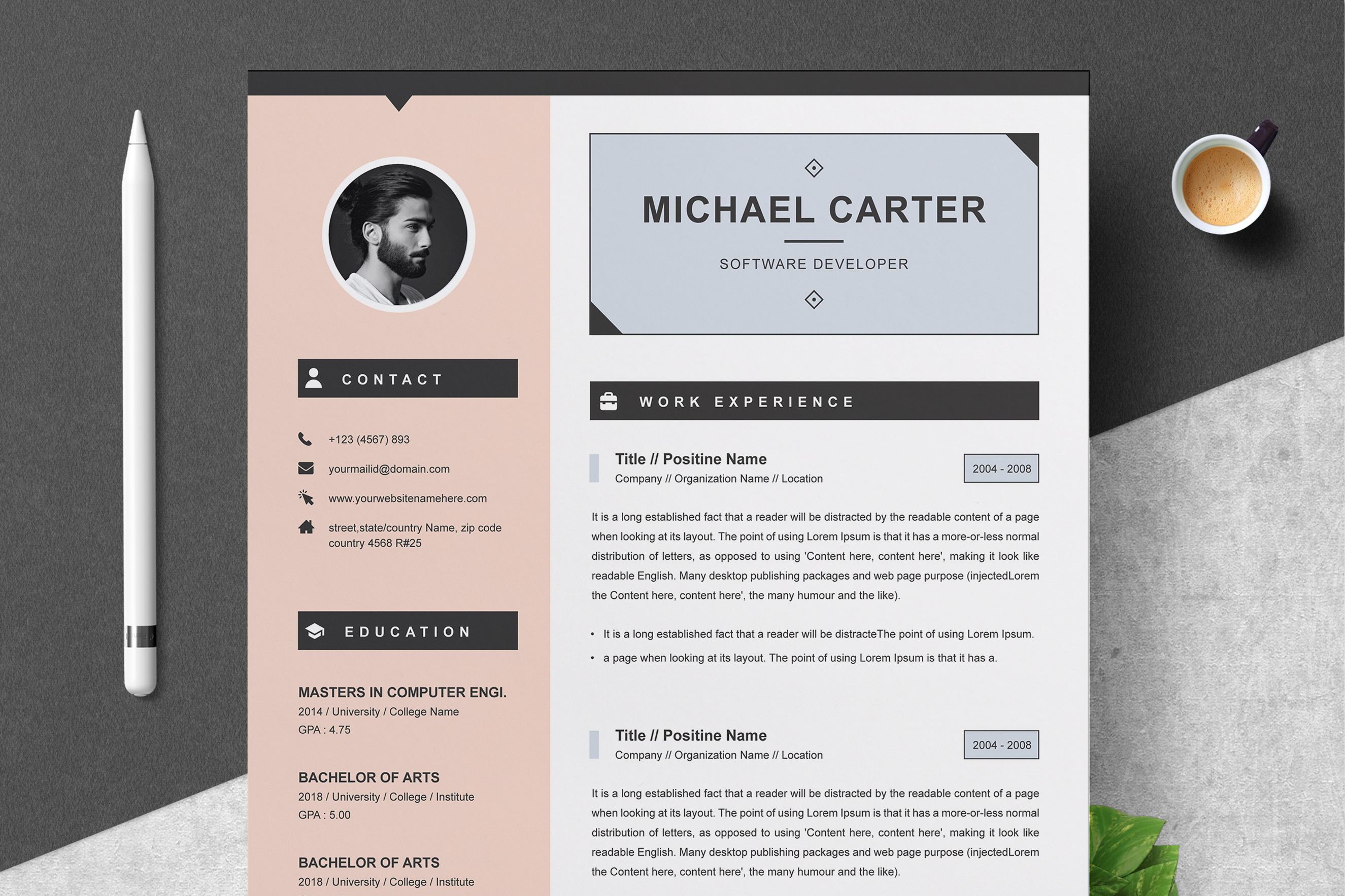 3 Page Resume.Modern Resume Cv Template 3 Pages