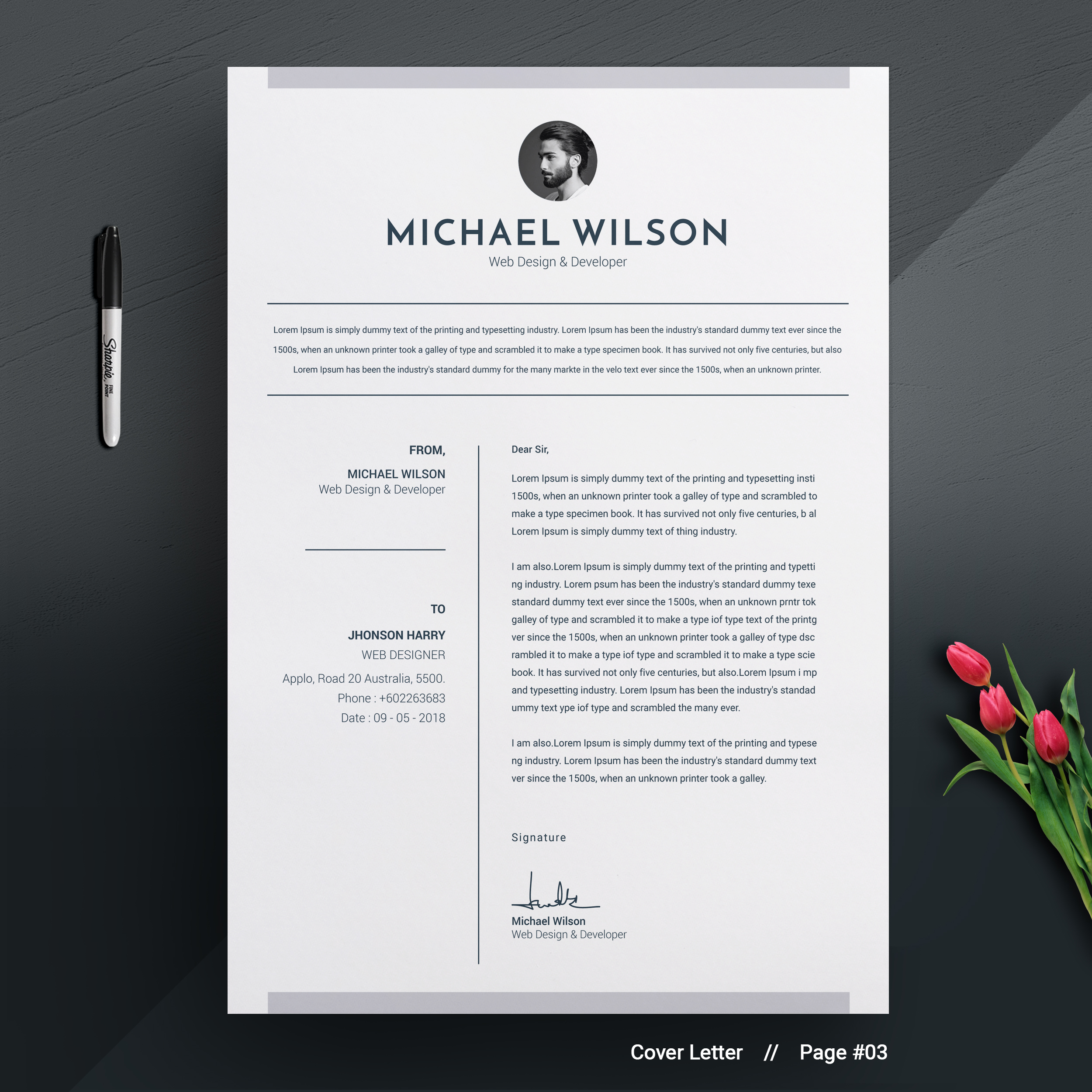 3 Pages Clean Cv Template Ms Word