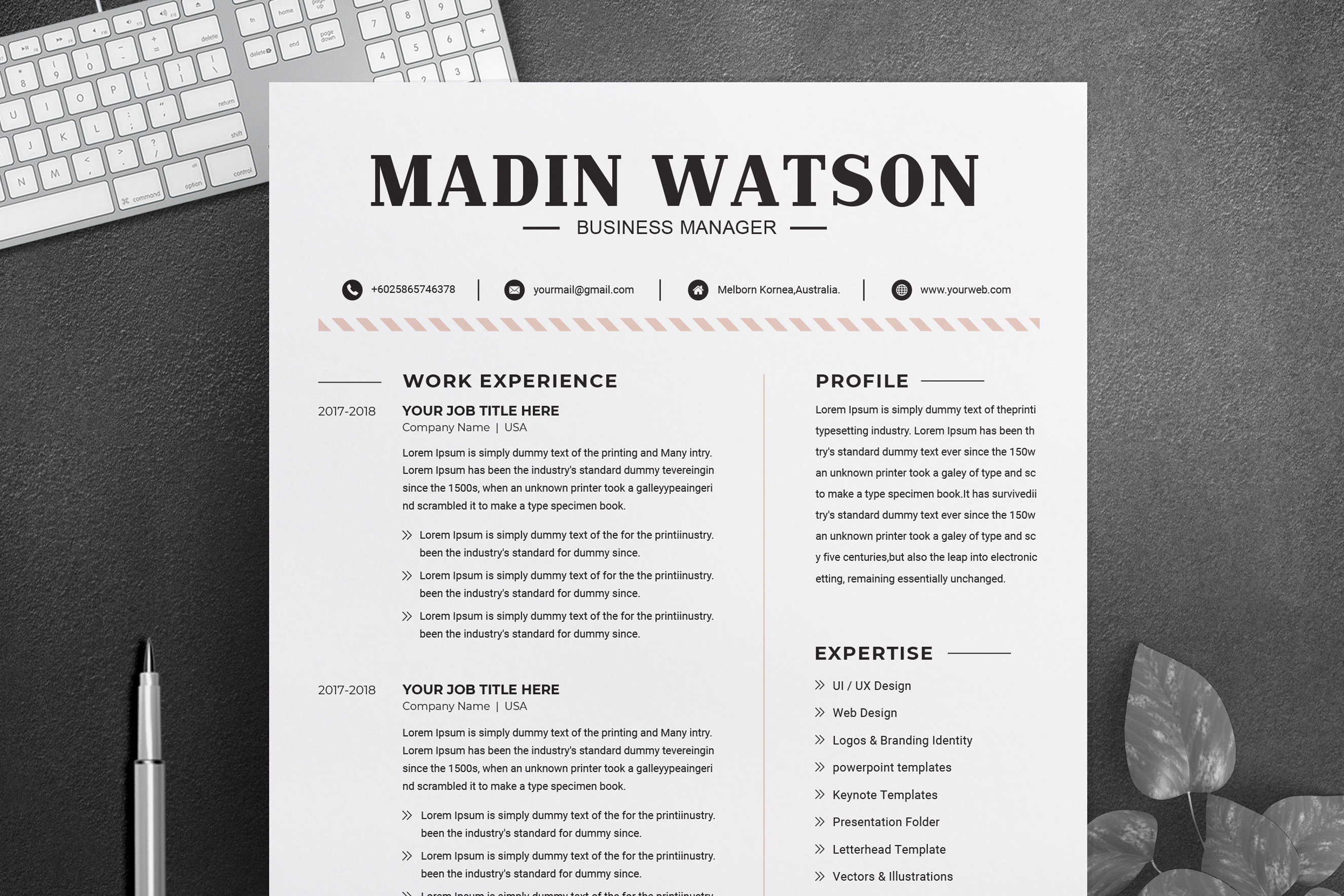 2 Pages Resume Template.Simple Professional Job Resume Template Cv Resume 2 Pages