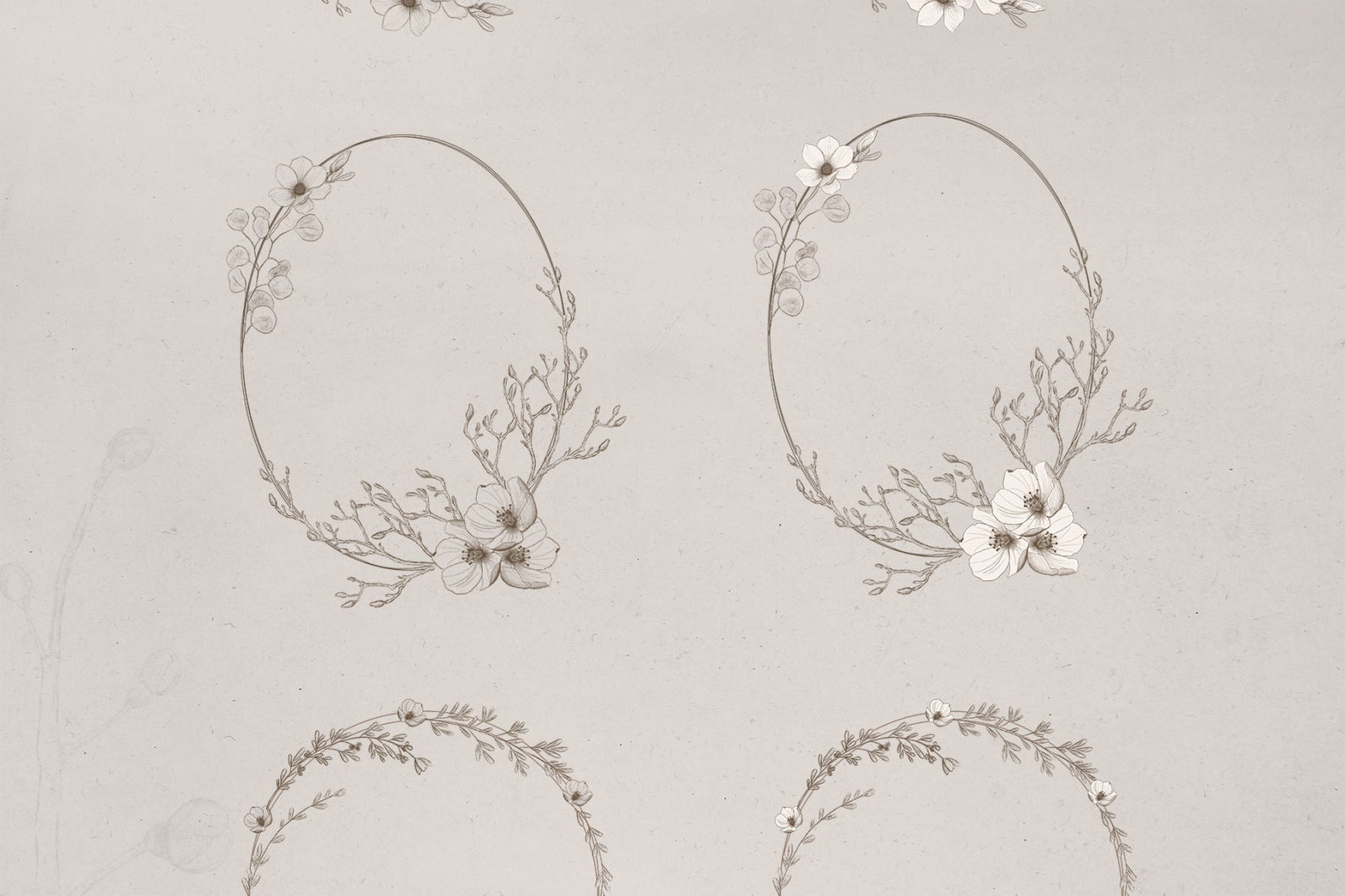 Sketchy Floral Wreaths & Borders - sketchy wreaths page -