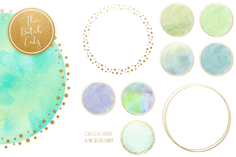 Watercolor Logo Circle Clipart Set Aqua