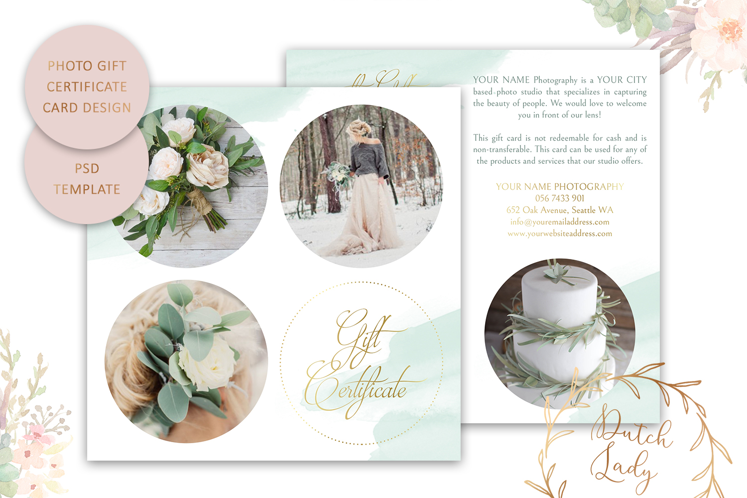 Photography Gift Certificate Card Adobe Photoshop Psd Template