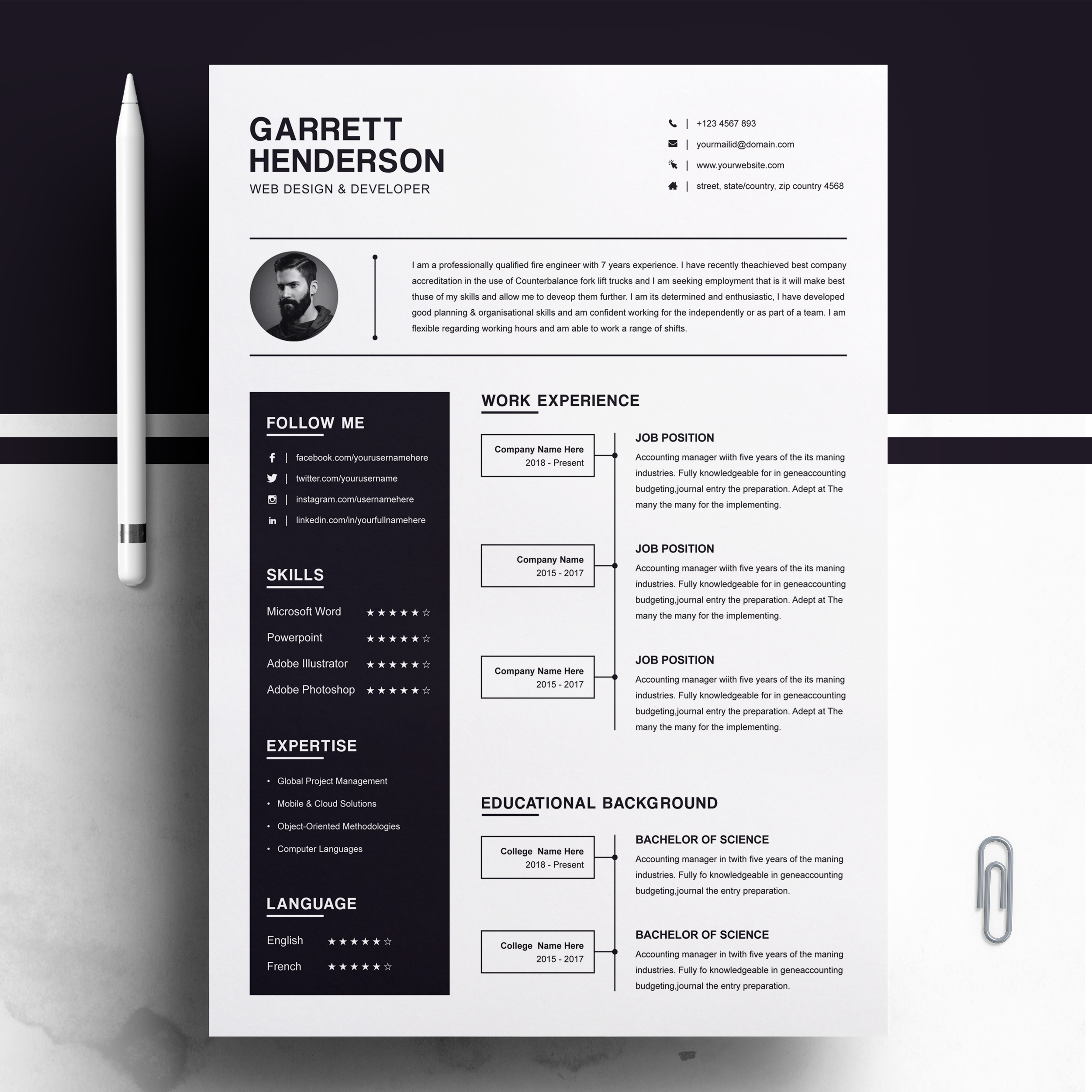 One Page Resume Template + Cover Letter | CV | MS Word