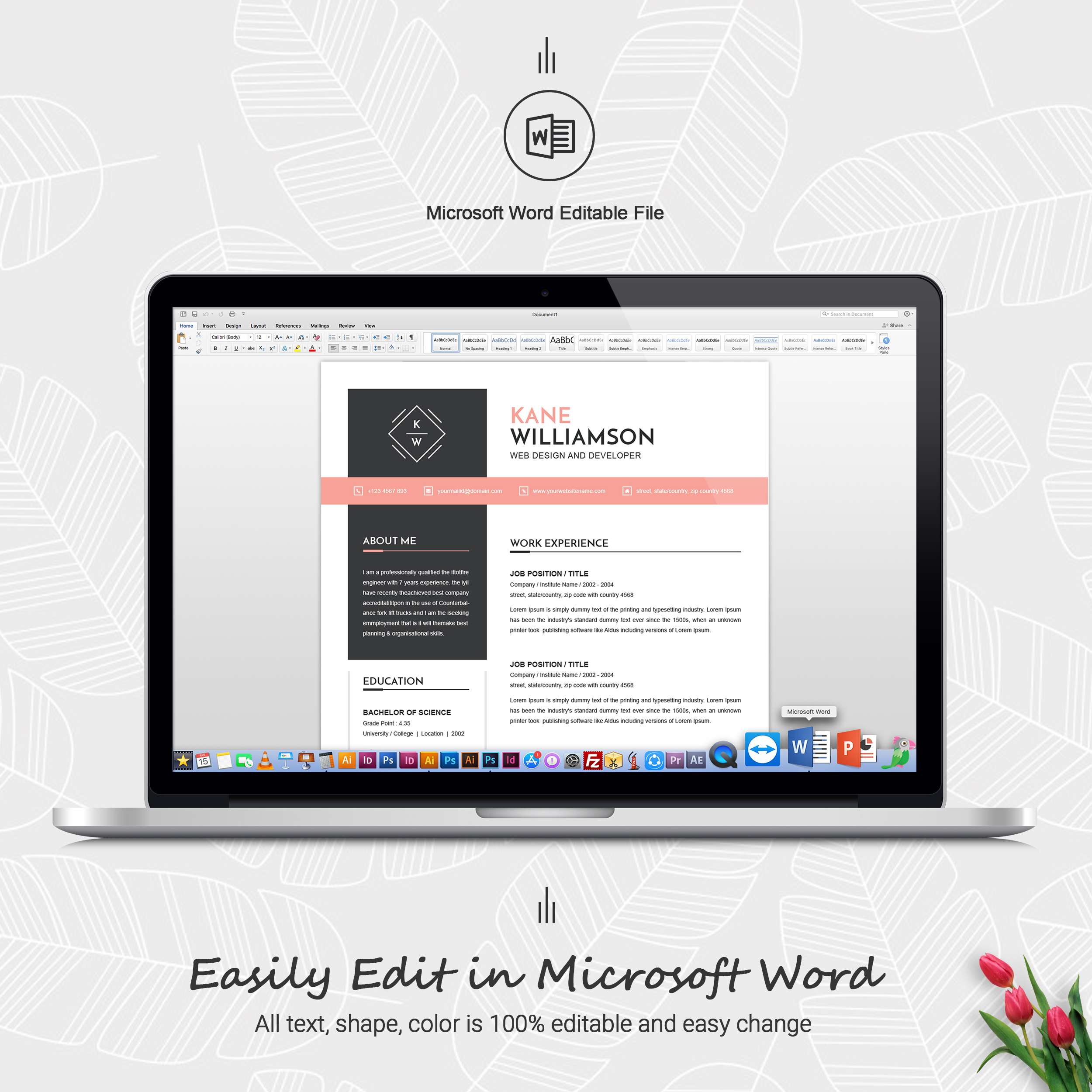 Professional Resume Template | MS Word CV Design Template