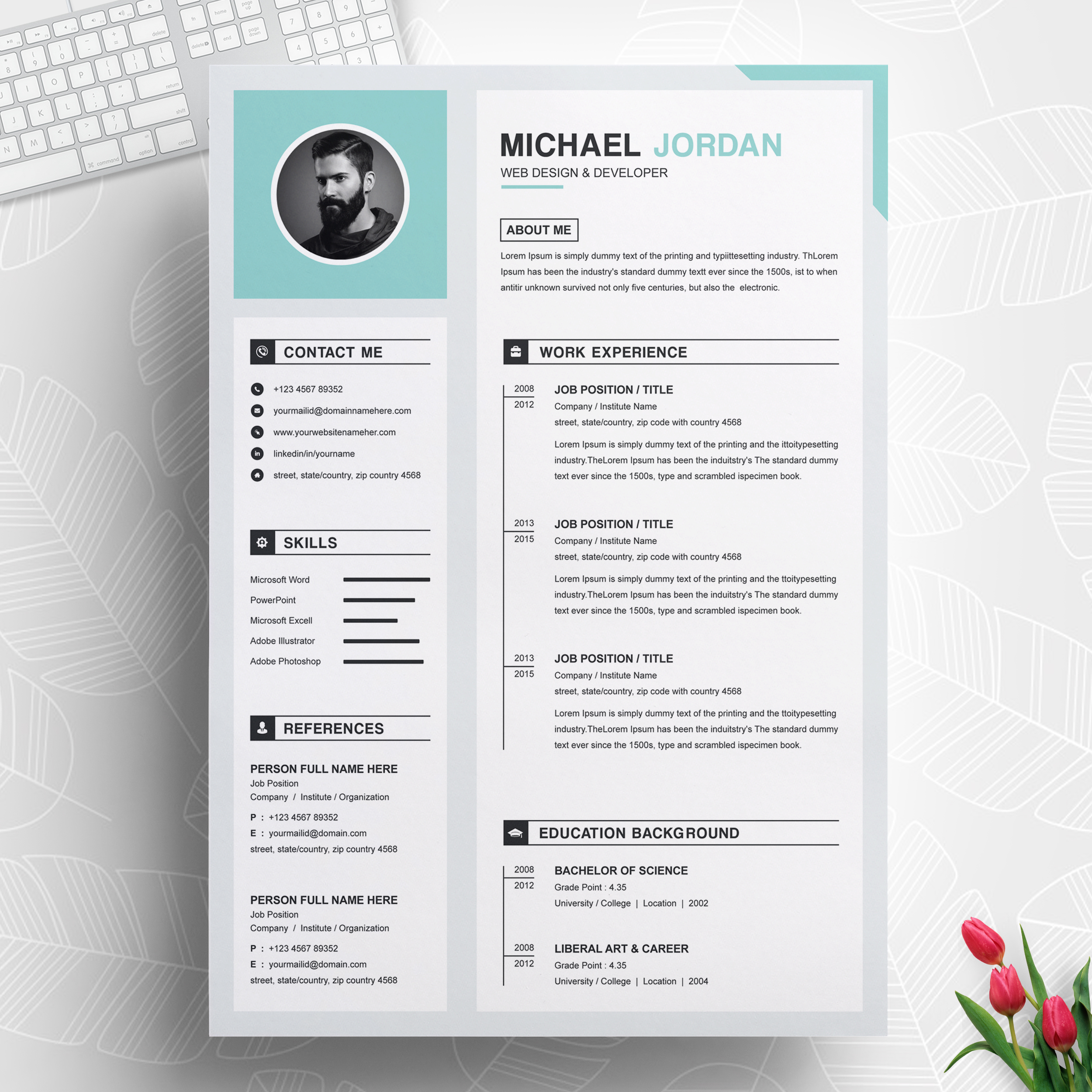 one page clean and professional resume design template