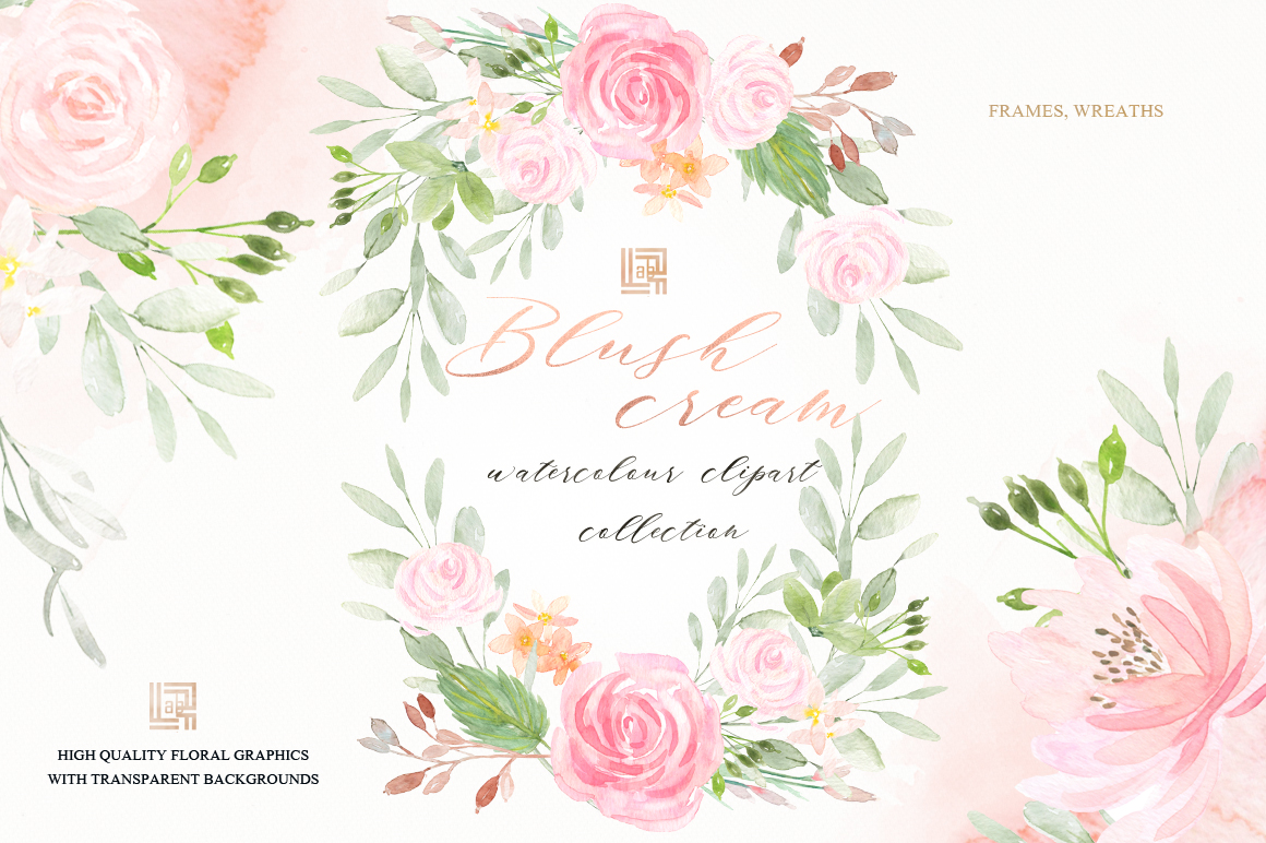 Blush Cream Watercolor Flowers Blush Cream Watercolor Flowers