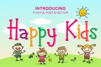Font Deals - Powerful Script & Calligraphy Fonts for just $1 - happy kids preview 1 -