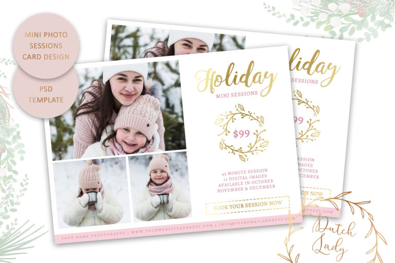 Photography Mini Session Advertising Card - Christmas & Holidays - Adobe Photoshop .PSD Template #20 - photo session card template19 -