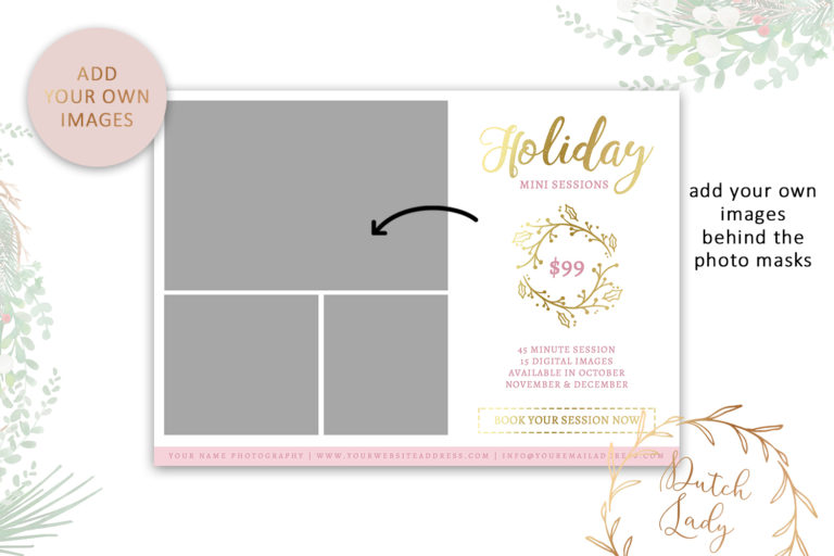 Photography Mini Session Advertising Card - Christmas & Holidays - Adobe Photoshop .PSD Template #20 - photo card design42 -