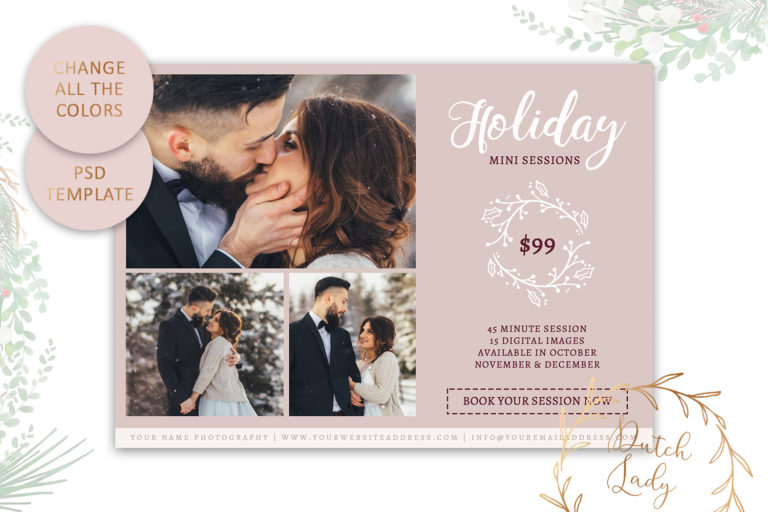 Photography Mini Session Advertising Card - Christmas & Holidays - Adobe Photoshop .PSD Template #20 - customizable card template42 -