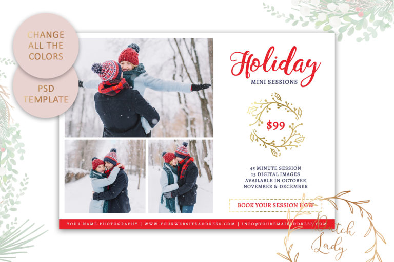 Photography Mini Session Advertising Card - Christmas & Holidays - Adobe Photoshop .PSD Template #20 - mini sessions card template18 -