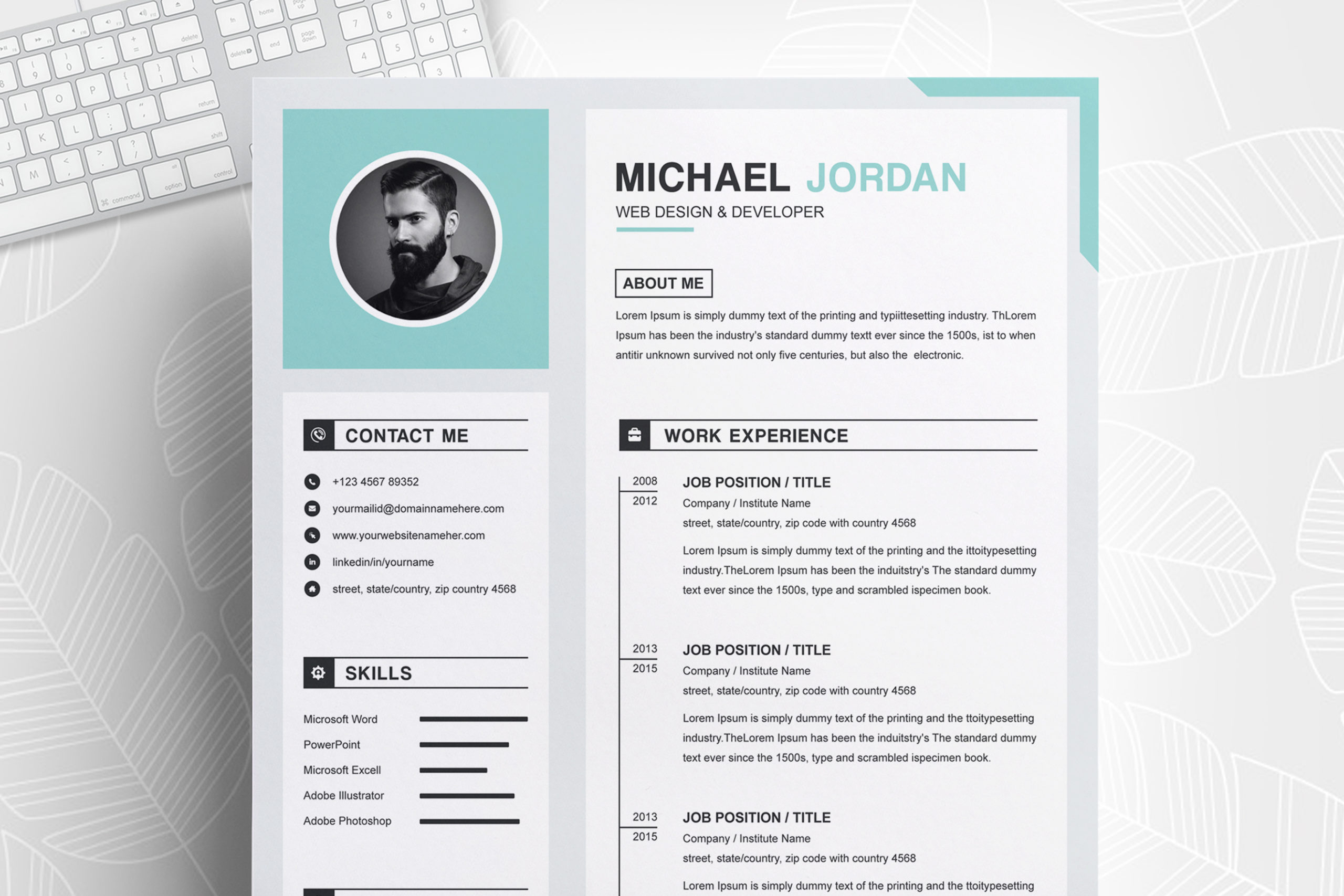 One Page Clean And Professional Resume Design Template Ms Word Apple Pages Cover Letter