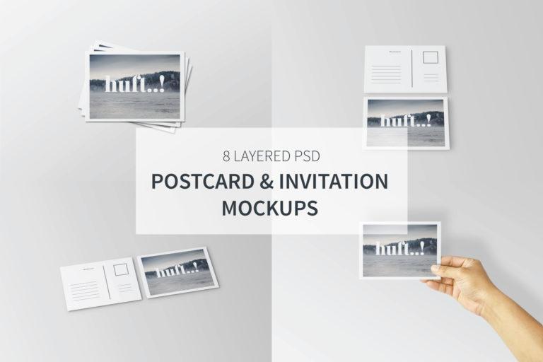 Postcard & Invitation Mockups - Postcard Invitation Mockups -