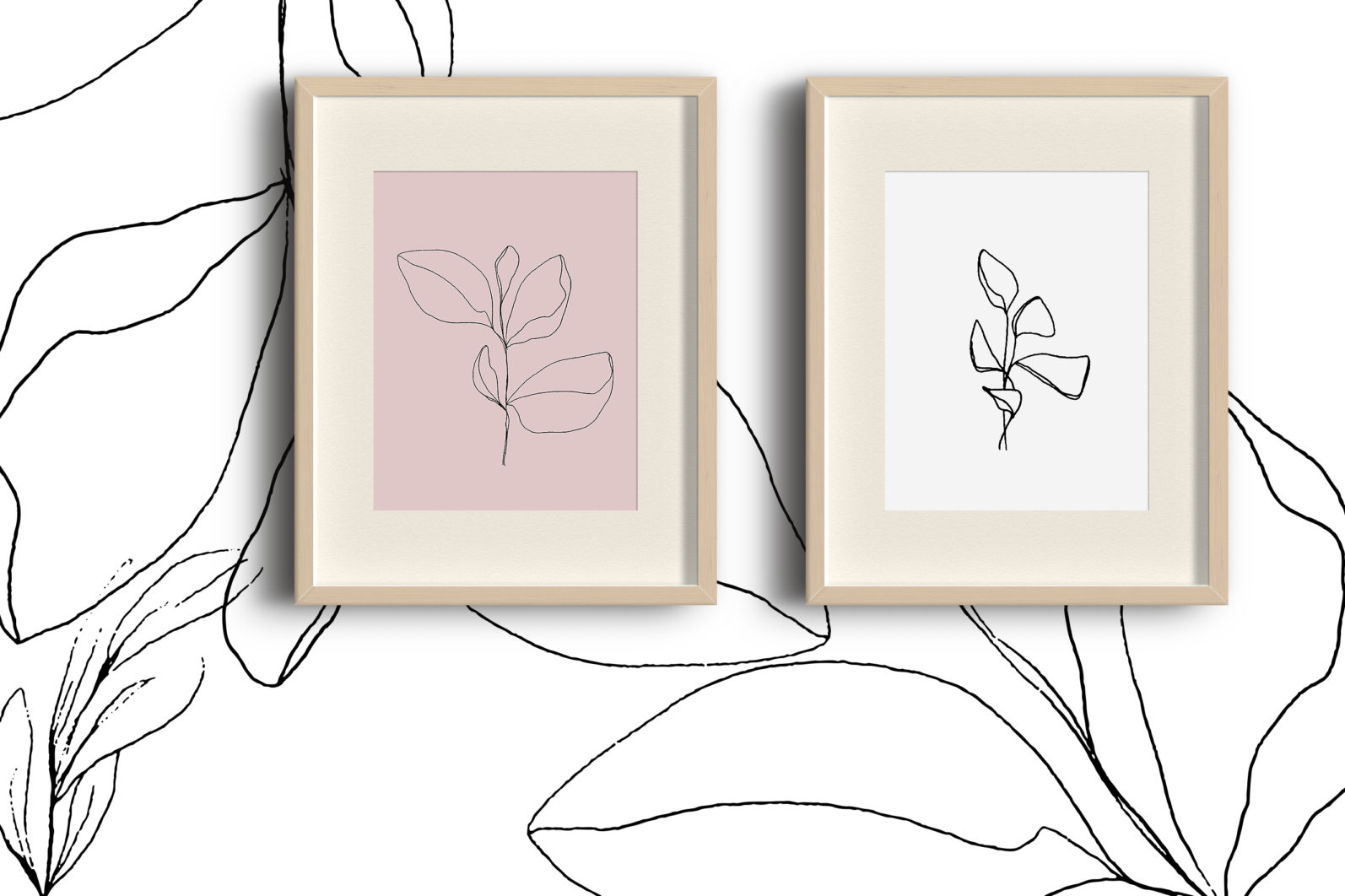 Floral pencil drawing one line art elements, Vector - etsy pencil preview11 -