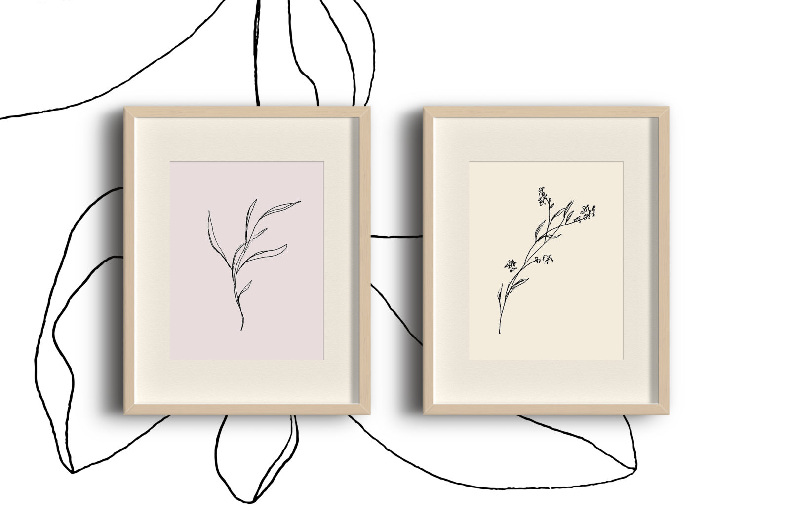 Floral pencil drawing one line art elements, Vector - etsy pencil preview2 -
