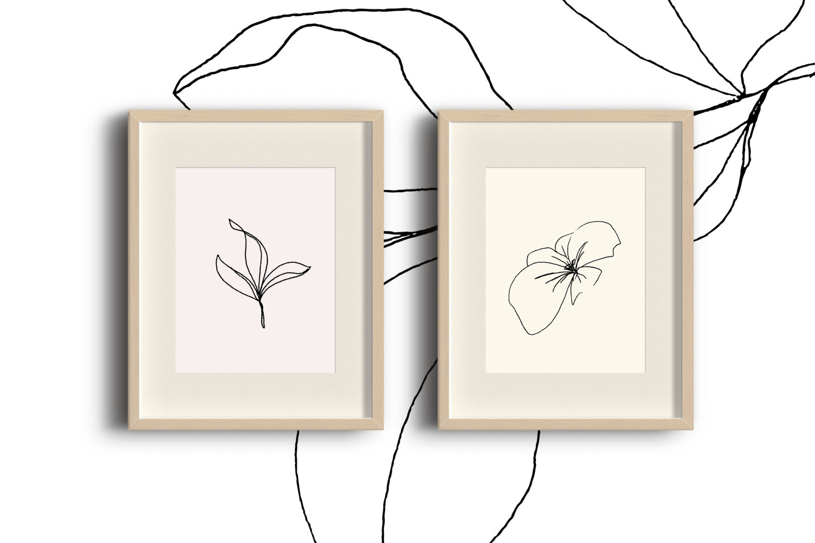 Floral pencil drawing one line art elements, Vector - etsy pencil preview3 -