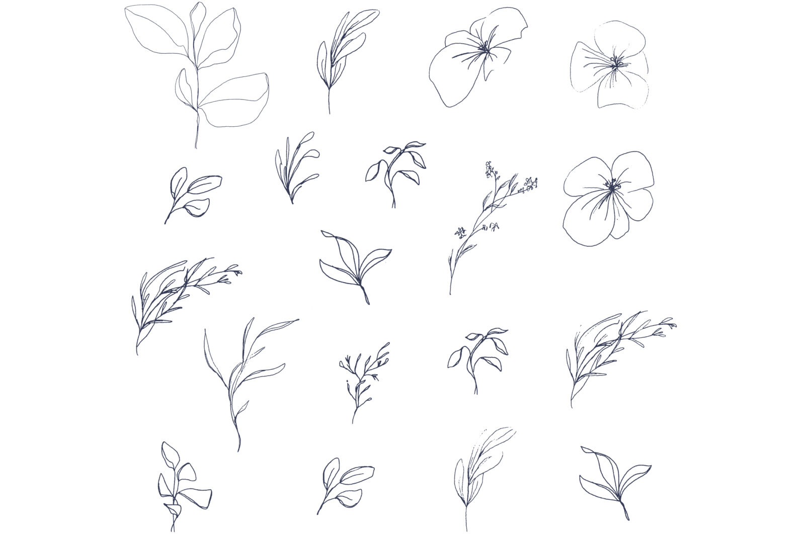 Floral pencil drawing one line art elements, Vector - etsy pencil preview5 -