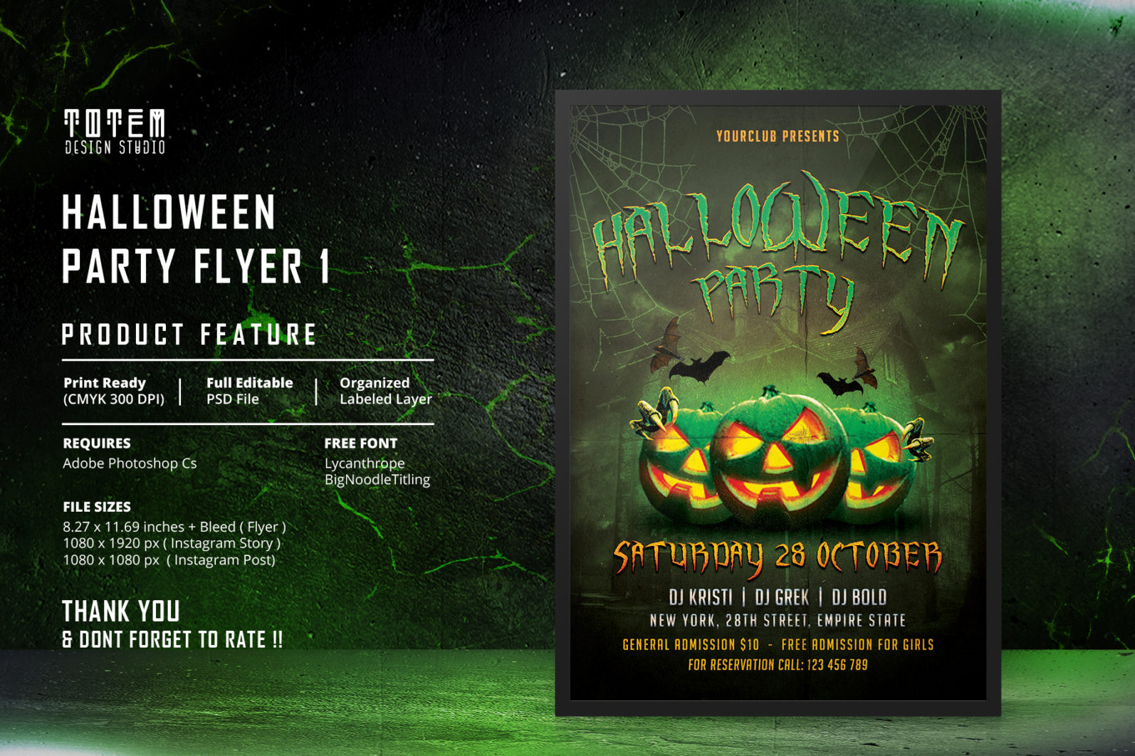 HALLOWEEN PARTY FLYER 1 - Preview Image 1 Halloween Party Flyer 1 Set -