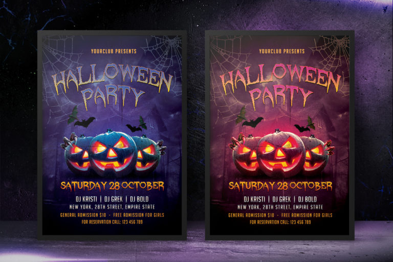 HALLOWEEN PARTY FLYER 1 - Preview Image 7 Halloween Party Flyer 1 Set -