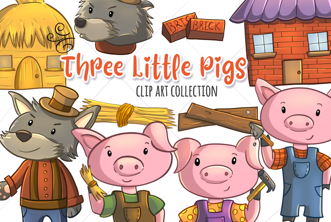 Pig Clipart Three Little Pig - 3 Little Pigs Clipart - Png Download  (#1136425) - PinClipart