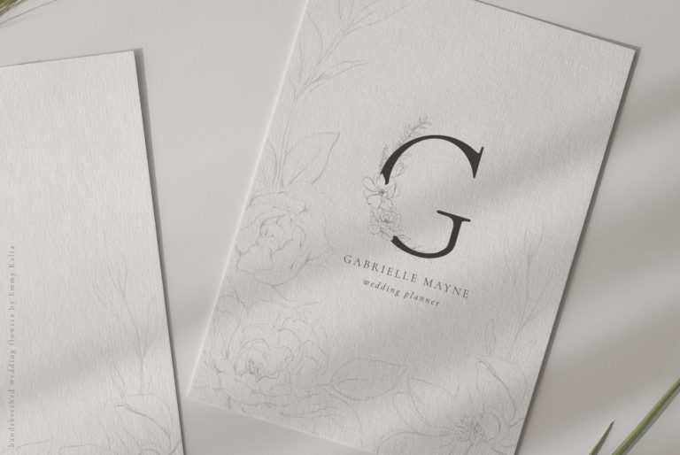 Wedding Flower Pencil Illustrations, Floral Alphabet - 9WeddingFlowers Logo -