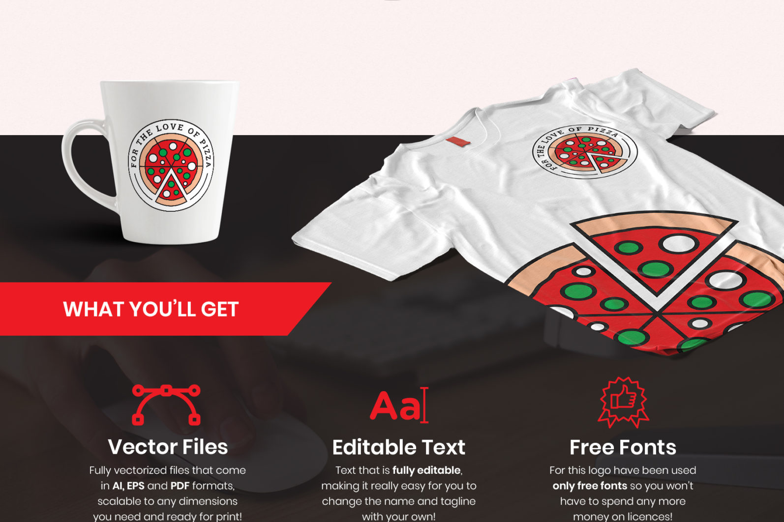 For the Love of Pizza Logo Template - preview love of pizza -