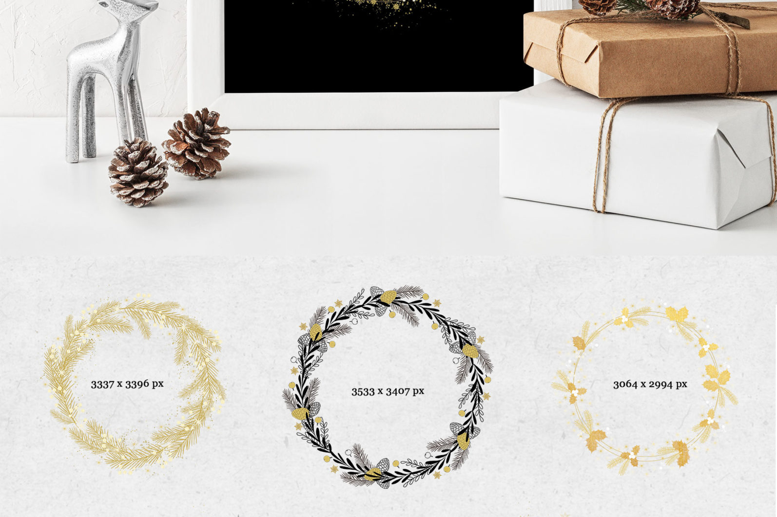 Black & Gold Christmas - chirstmas black gold wreaths page -