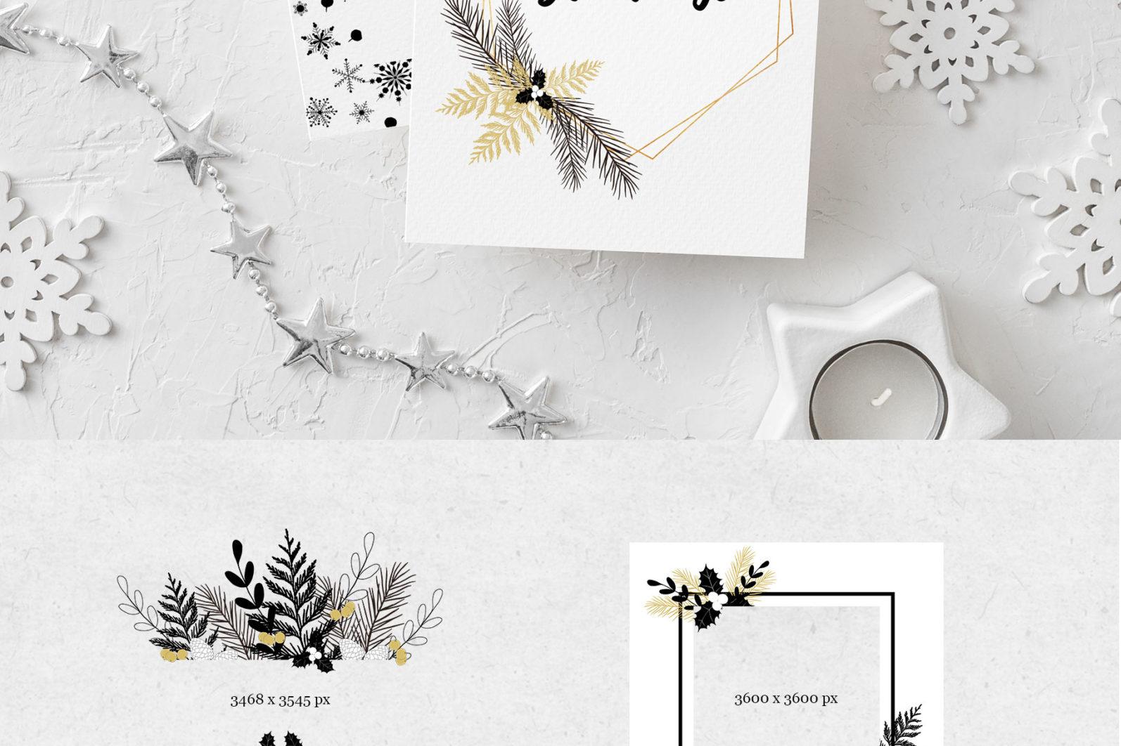 Black & Gold Christmas - chirstmas black gold frames page -