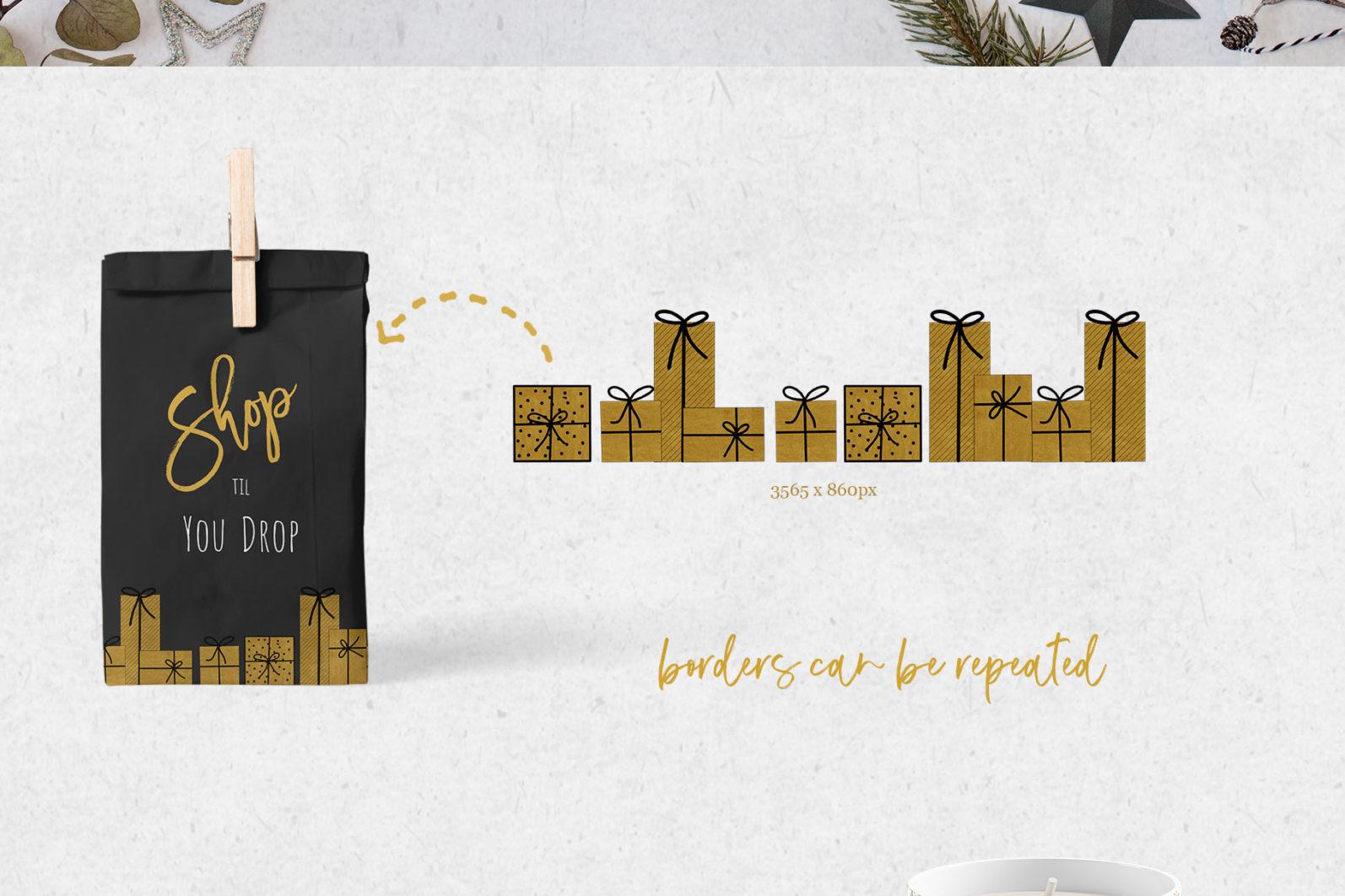 Black & Gold Christmas - chirstmas black gold borders page -