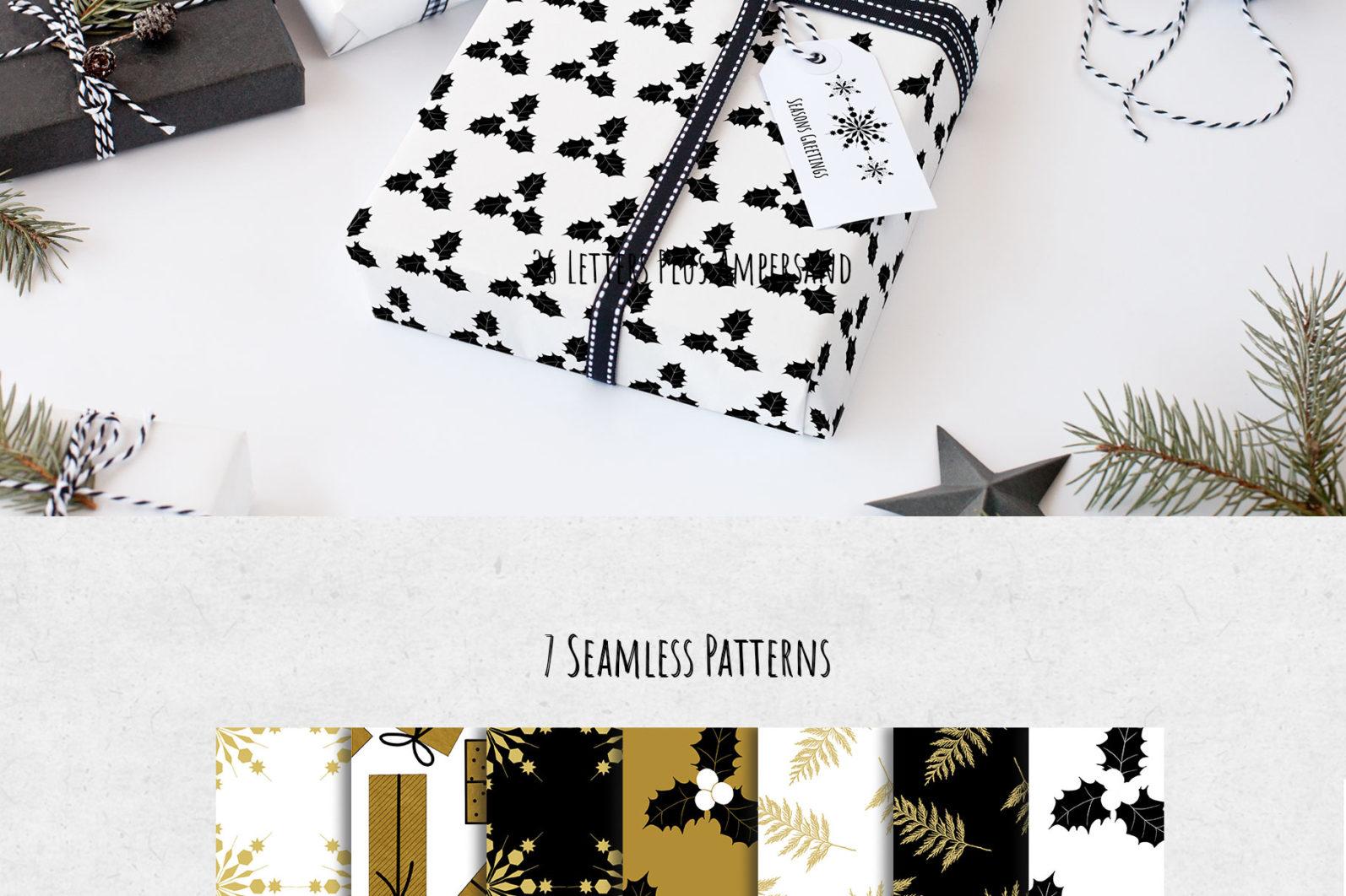 Black & Gold Christmas - chirstmas black gold patterns page -