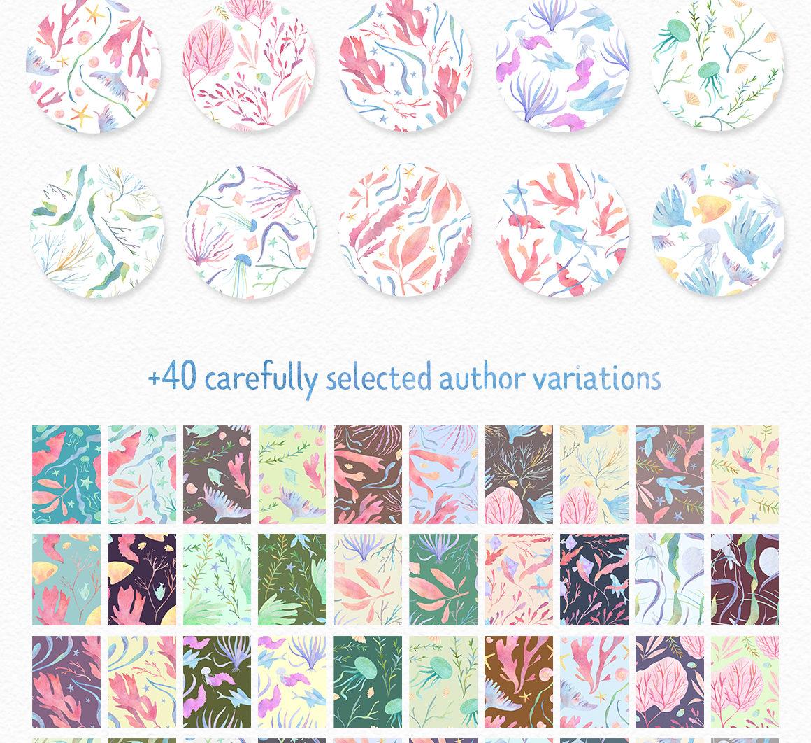 Underwater watercolor patterns - 2 %D0%BF%D0%B0%D1%82%D1%82%D0%B5%D1%80%D0%BD%D1%8B -