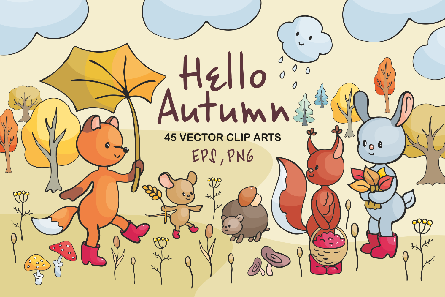 Hello autumn. Forest animals and plants in doodle style. - 0134 -