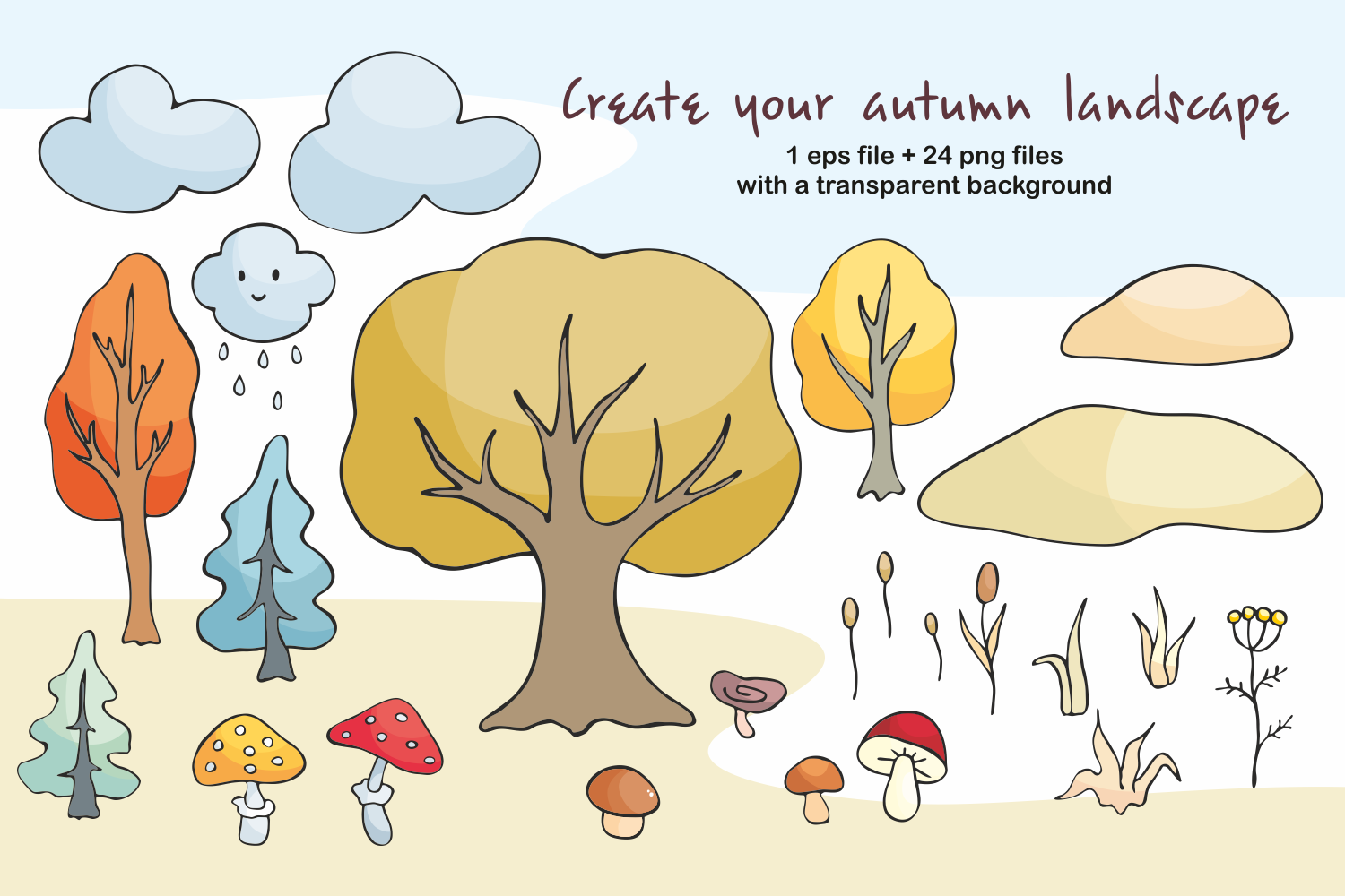 Hello autumn. Forest animals and plants in doodle style. - 0332 -