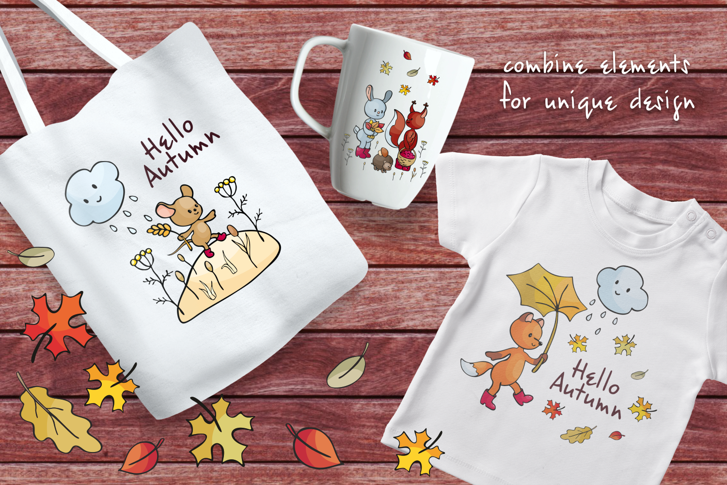Hello autumn. Forest animals and plants in doodle style. - 0524 -