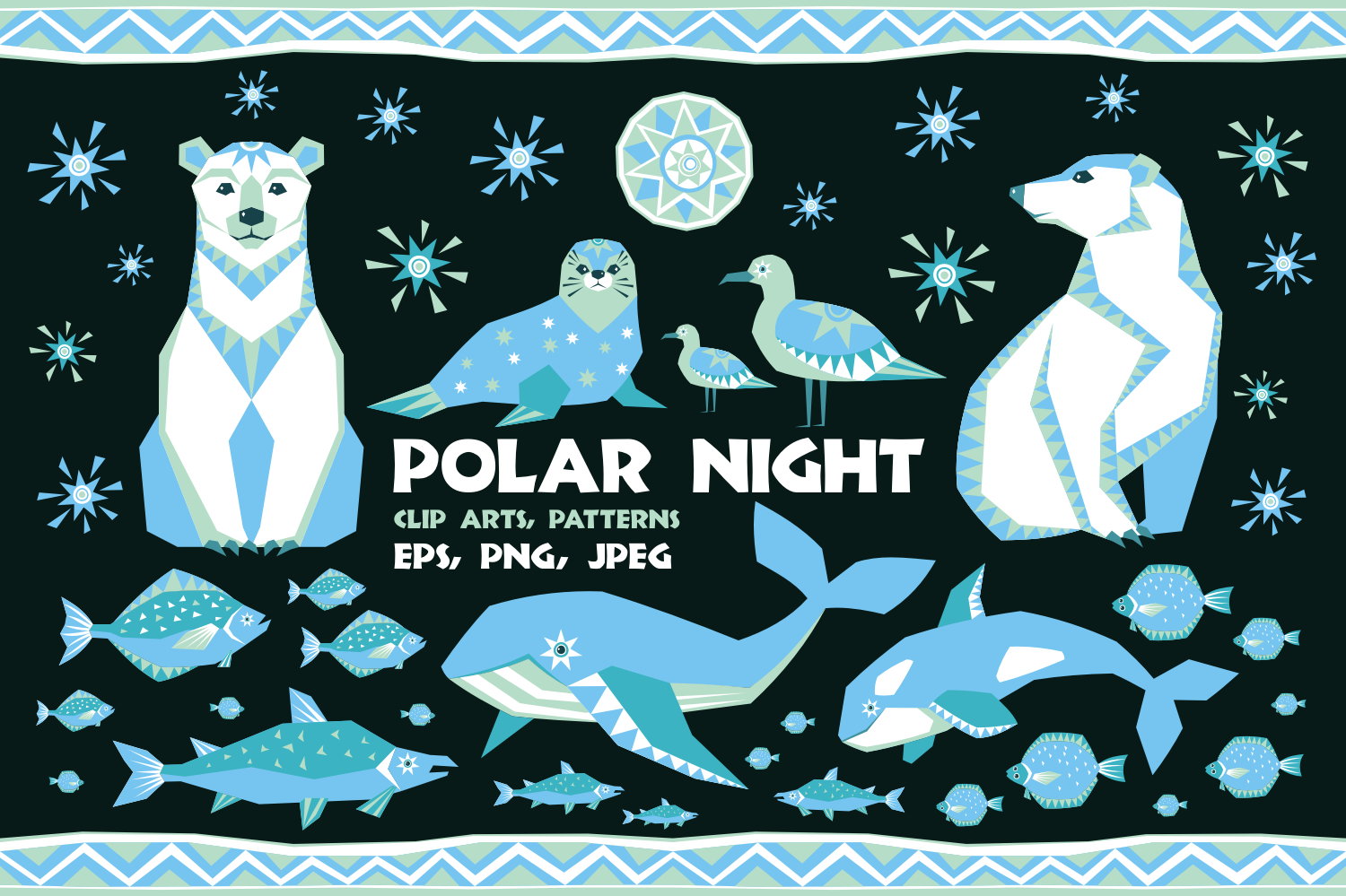 Polar night. Vector clip arts and seamless patterns in ethnic style. - 0148 -