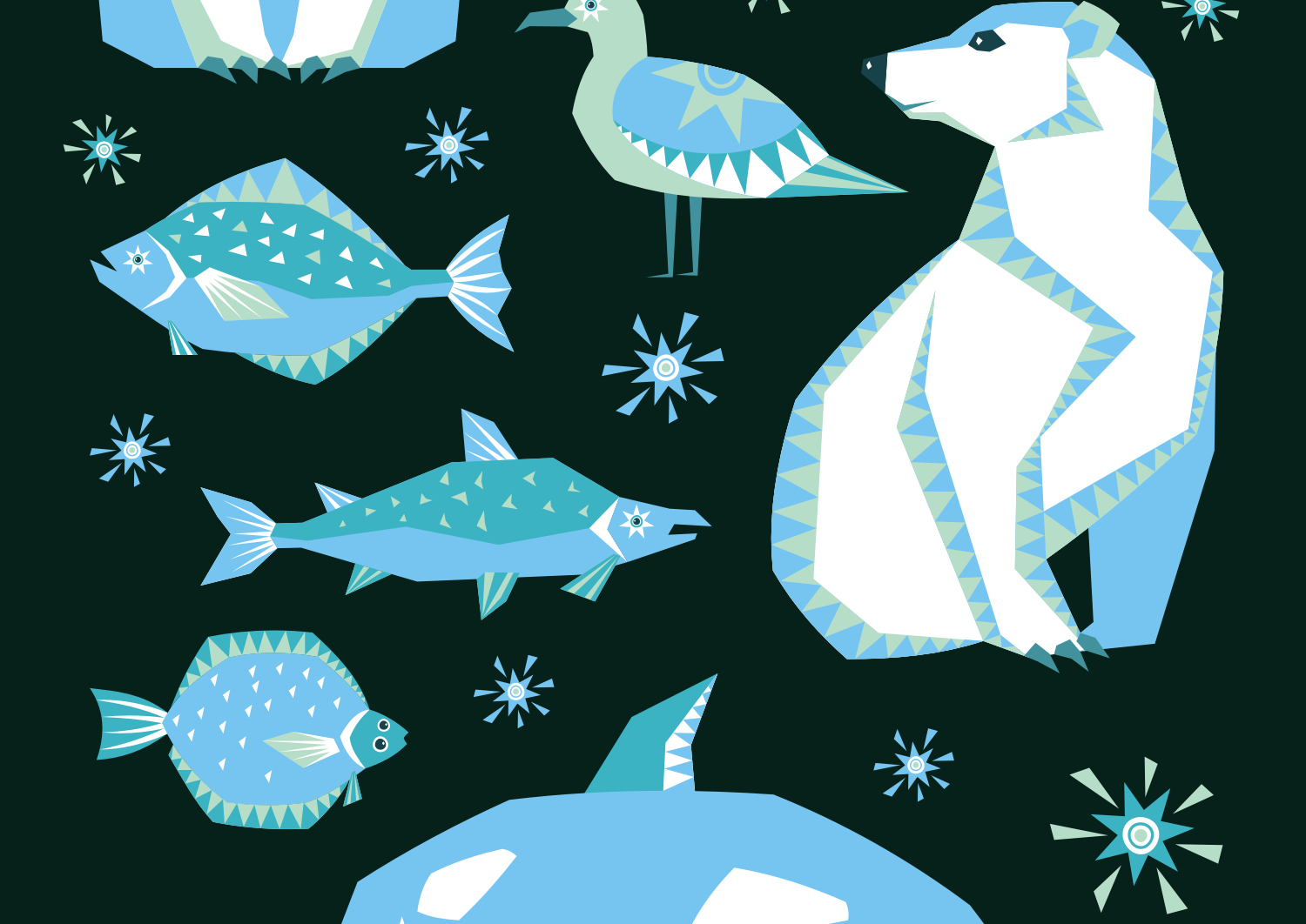 Polar night. Vector clip arts and seamless patterns in ethnic style. - 0247 -