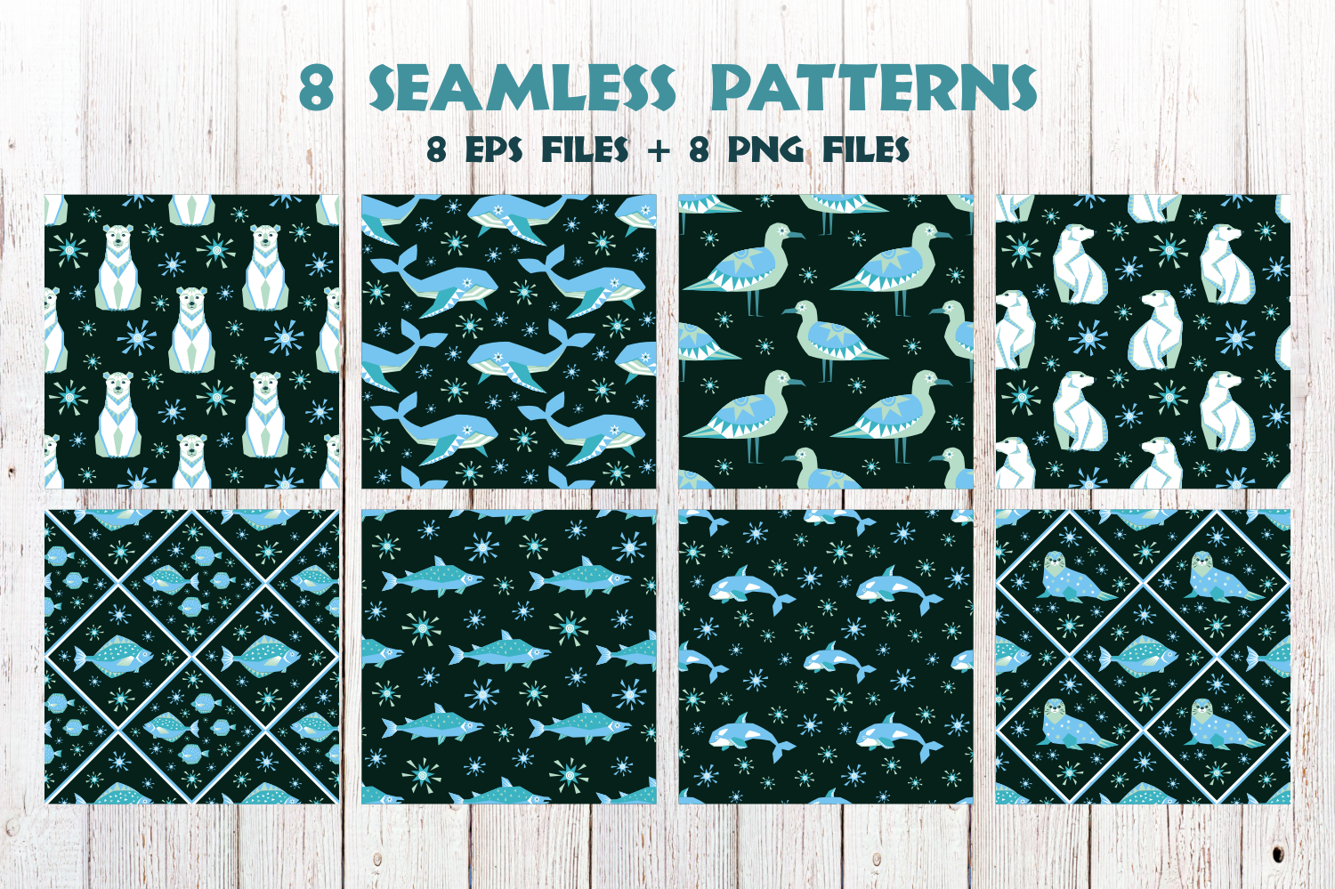 Polar night. Vector clip arts and seamless patterns in ethnic style. - 0345 -