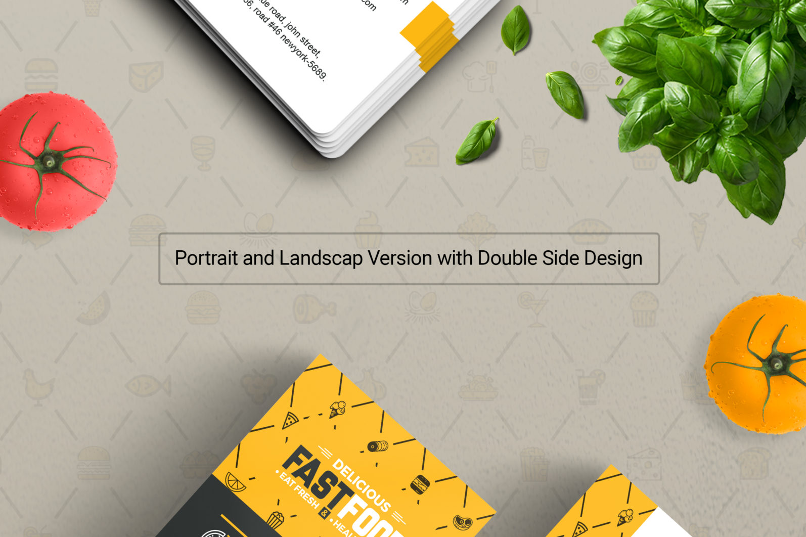 Mega Stationery Branding Identity for Fast Food and Restaurant - 01 Business Card -