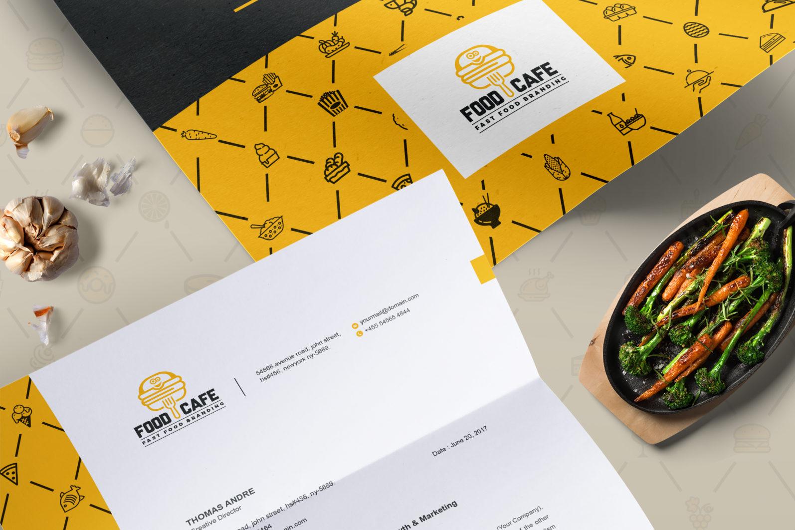 Mega Stationery Branding Identity for Fast Food and Restaurant - 02 Letterhead Template Design -