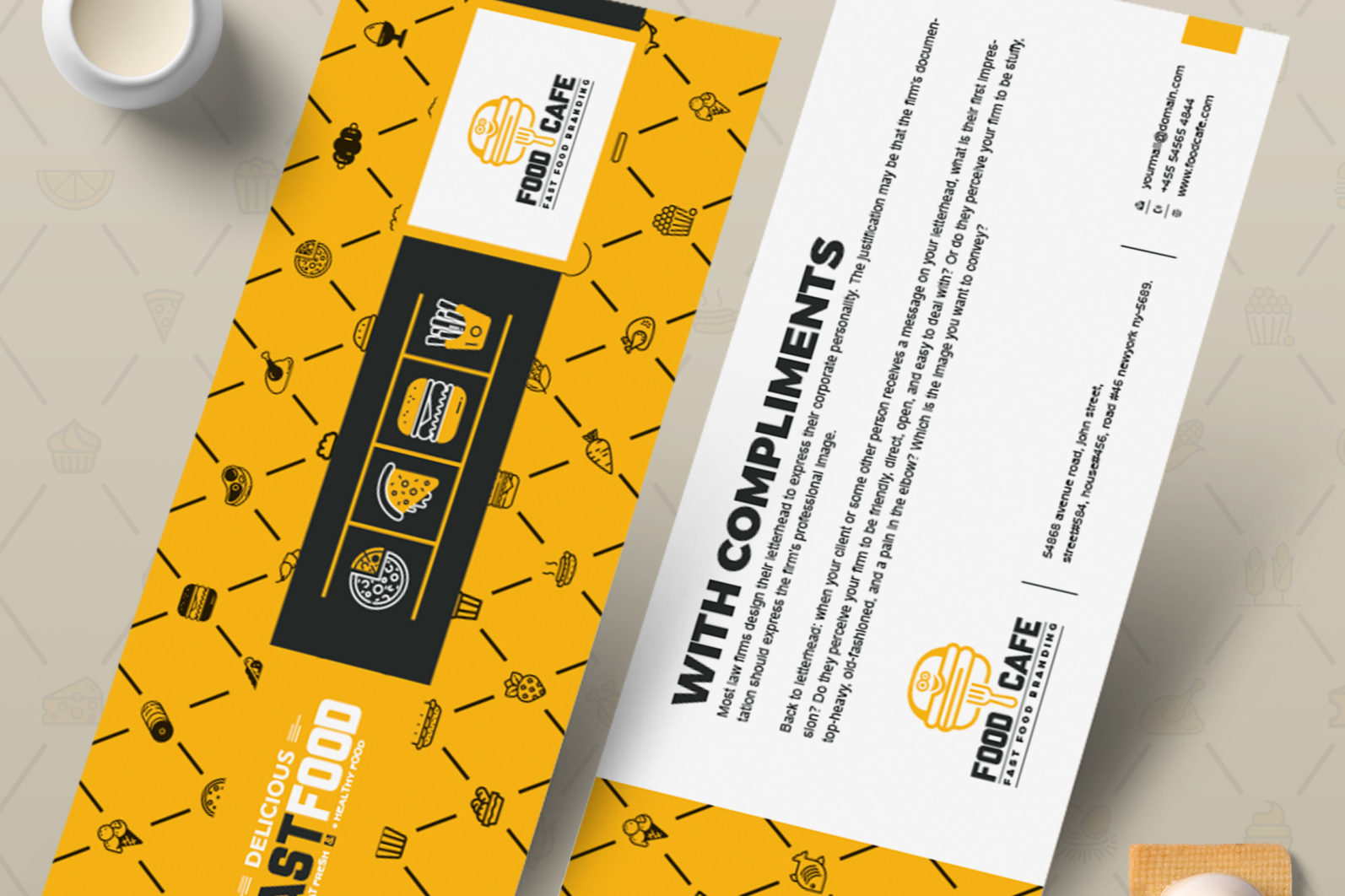 Mega Stationery Branding Identity for Fast Food and Restaurant - 03 Compliment Slip -