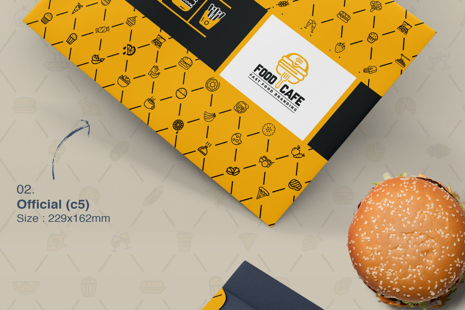 Mega Stationery Branding Identity for Fast Food and Restaurant - 06 Envelops -