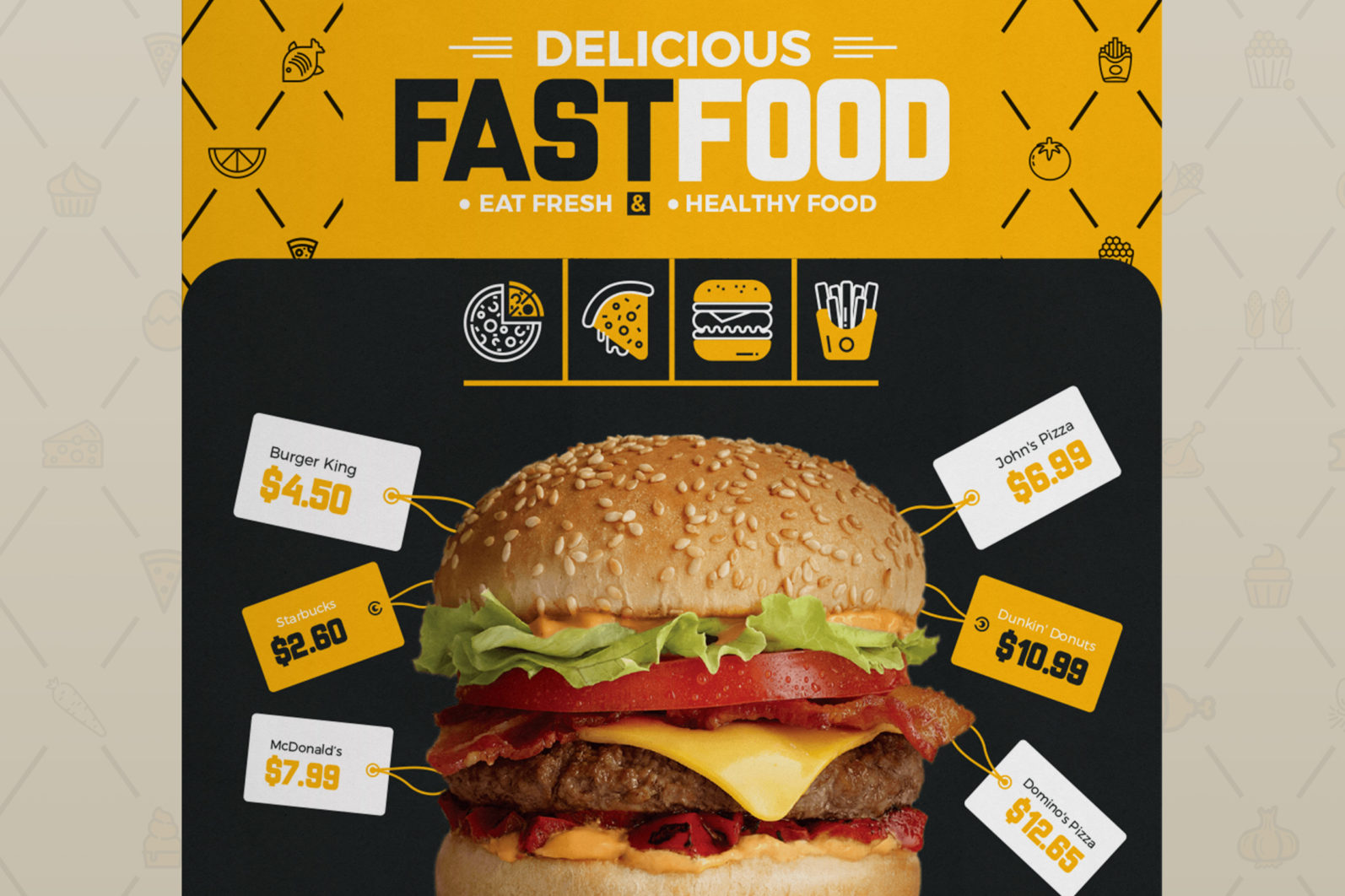 Mega Stationery Branding Identity for Fast Food and Restaurant - 07 Business Flyer -