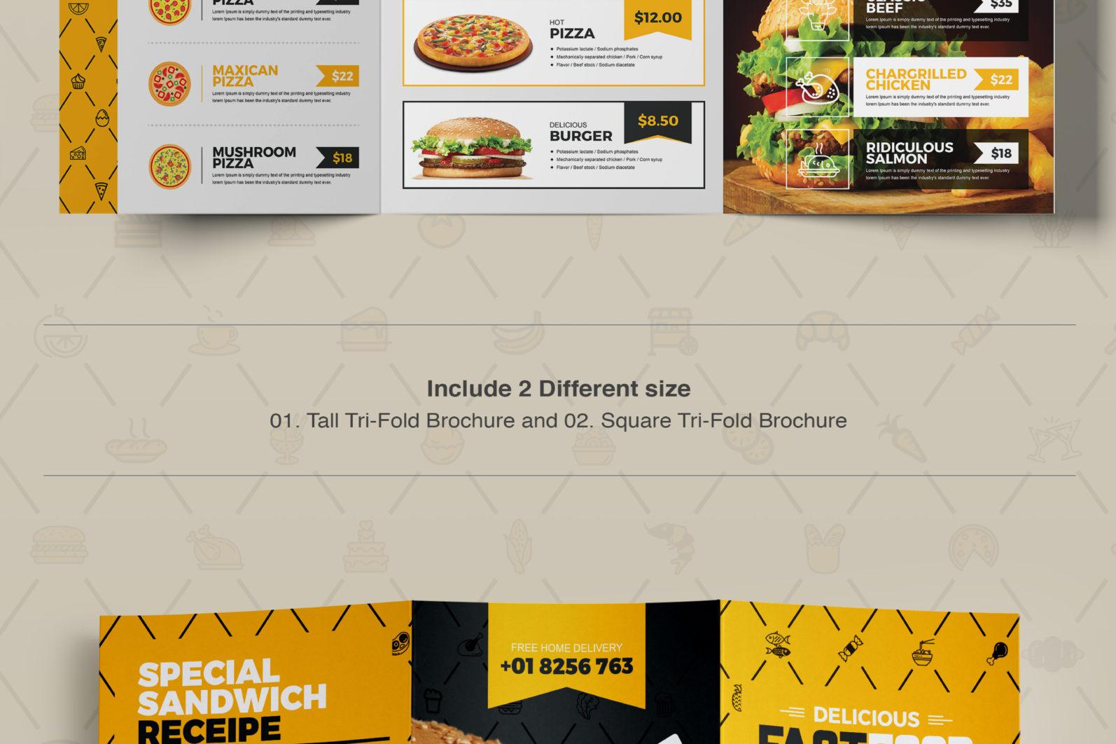 Mega Stationery Branding Identity for Fast Food and Restaurant - 08 Tri Fold Brochure -