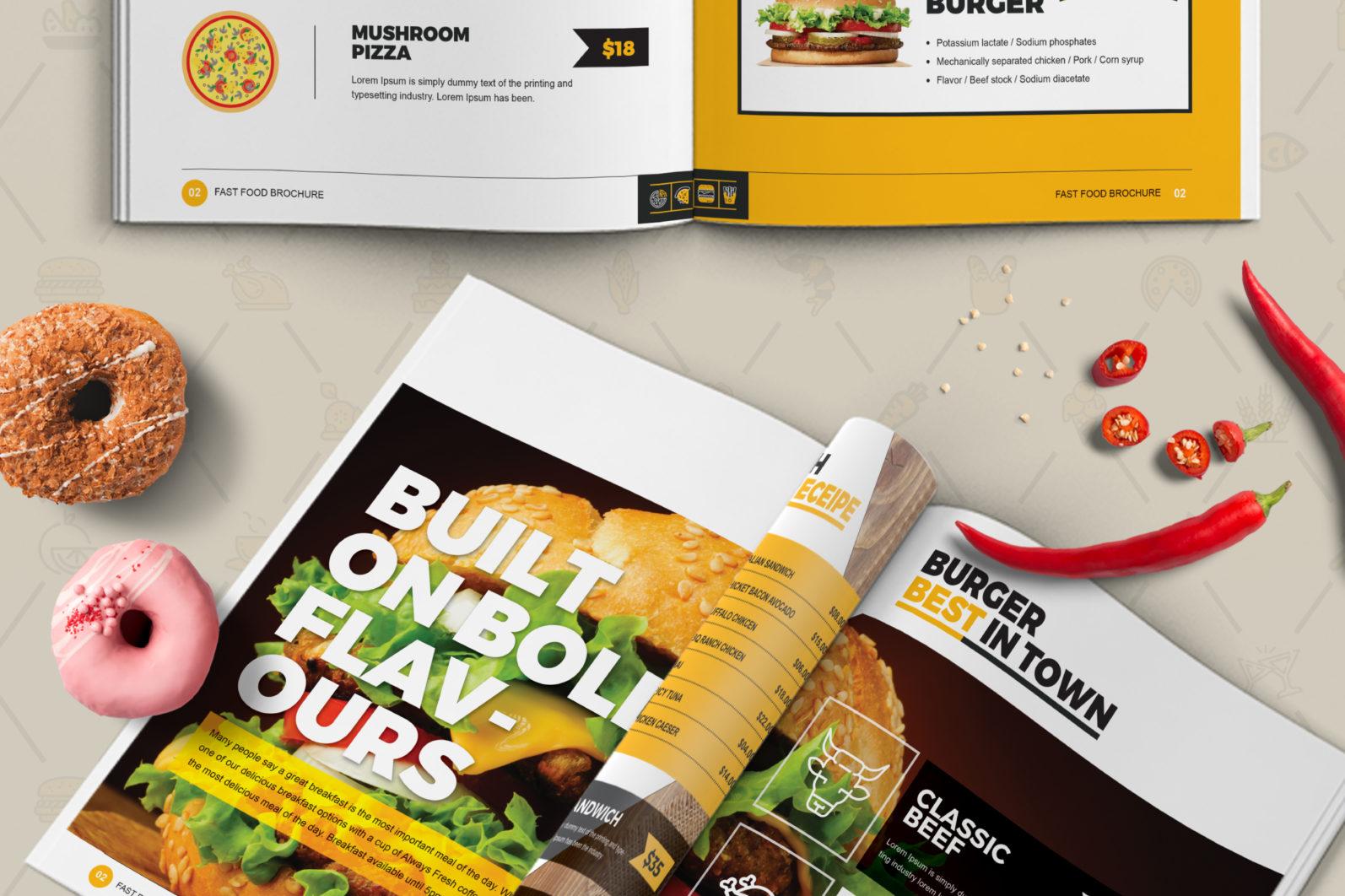 Mega Stationery Branding Identity for Fast Food and Restaurant - 09 Bi Fold Brochure -