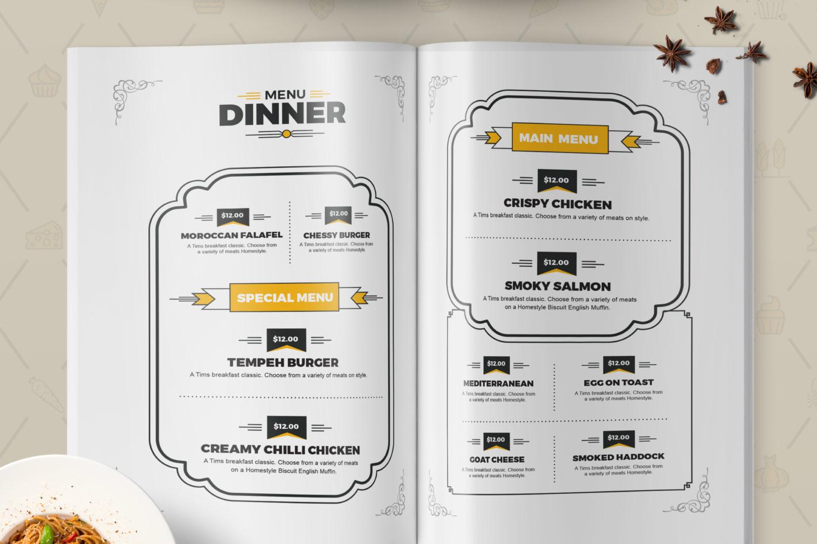 Mega Stationery Branding Identity for Fast Food and Restaurant - 10 Food Menu -