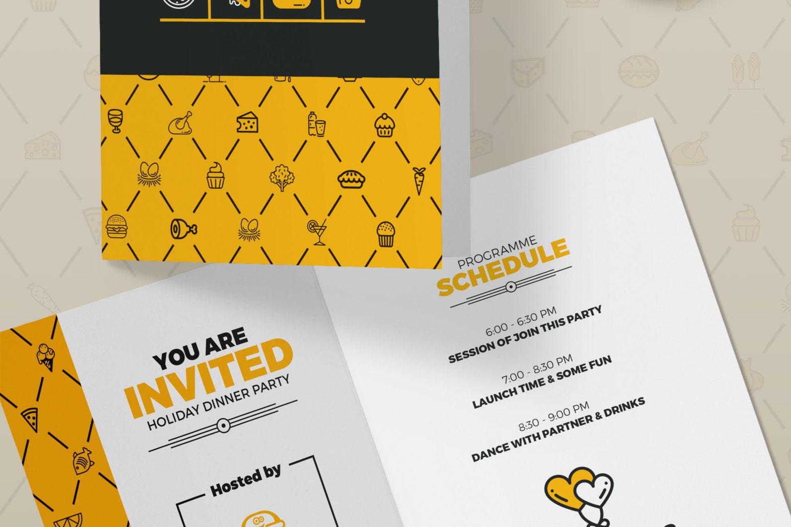 Mega Stationery Branding Identity for Fast Food and Restaurant - 12 Invitation Card -